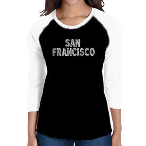 Women's Raglan Baseball Word Art Tee SAN FRANCISCO